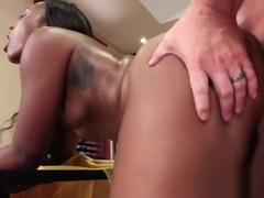 Amazing ebony Channel Heart pussy slammed before facial