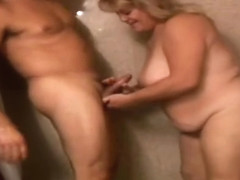 Spicy busty experienced female is making him cum
