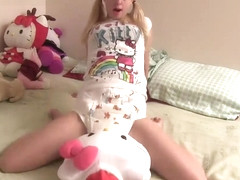 Pigtailed blonde teen baby girl humps Hello Kitty and plays with her wand