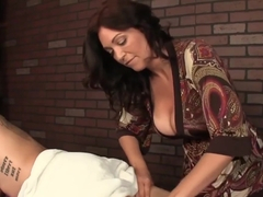 Milf Masseuse Dominates Her Cumming Client
