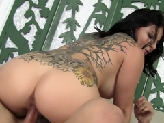 Tattooed nympho with big breasts Casey Cumz goes wild for a long stick