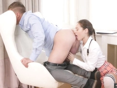 RIM4K. Lovely wife puts on schoolgirl uniform and gives rimming