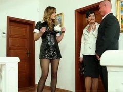 Classy clothed maid fuck