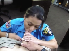 Pawning police babe sucking POV dick