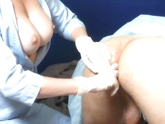 nurse makes prostate massage. The patient licks pussy and fucks her anal.
