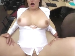 Busty business woman railed by pawn guy in the pawnshop