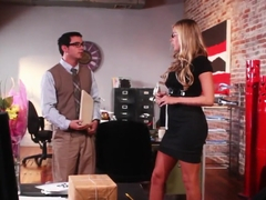 Fascinating blonde Samantha Saint has oral sex with nerdy guy