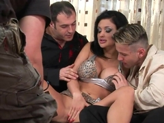 Busty and hot brunette Aletta Ocean gets into threesome