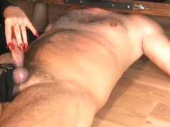 Handjob and ruined orgasm with cock brutally slapped while it cums hard