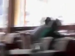 Shameless slut works a boner at a restaurant