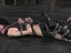 Skinny Bunny Tormented in a Strict Hogtie