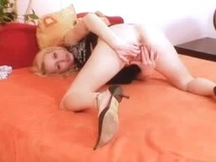Blonde slut Adele Sunshine pussy widening close up