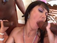 Two black monster cocks for round boobed white bitch Eva Karera