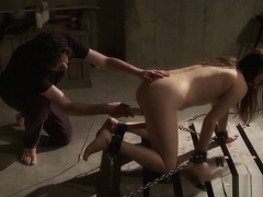 Submissive babe tied to the floor and hot waxed by master