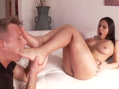 Comely breasty latino Adriana Luna in awasome foot fetish perfromance
