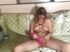 Clit vibrator orgasm in high heels and fishnet full bodysuit