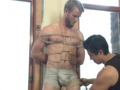 Hairy dude gets his uncut cock edged