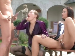 Horny girls, Niki Sweet and Lia Raw are having a threesome in the garden, during the day