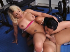 Intense workout with Luna and Victoria gets way too physical