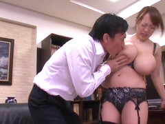 HORNYCAMS.PW - Asian with big tits undressing at the office