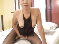 Sexy filipina in her crothcless bodystockings enjoying her dildo