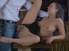 Hot brunette babe Blue Angel enjoys in big hard cock