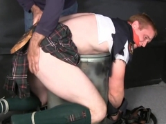 Tall red headed kilted cop bound ggged stripped and spanked.