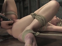 Samantha Sin bound in breast bondage, pussy fingered, vibrated to orgasms