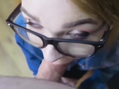 Red Head Short Hair Glasses POV Sloppy Blowjob and Facial