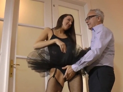 Classy euro beauty jizzed on ass by old man