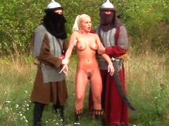 Blonde Babe Fucked By Two Medieval Soldiers
