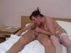 Mature takes Russian uncut cock