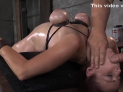 BDSM sub Bella Rossi on machine fucked