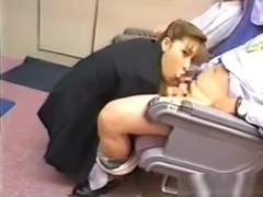 Stewardess Sucking Cock During A Flight