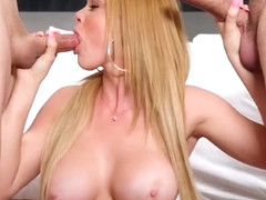 Big titted Skyla Novea takes two dicks