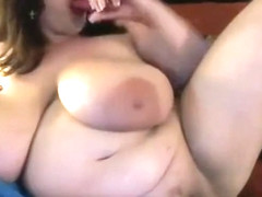 Huge natural 38K boobs milf Maria pounds her fat pretty pussy