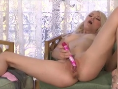 Bree Daniels shows off her body and rubs her tight pink pussy