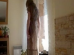 Amateur wife in long dress