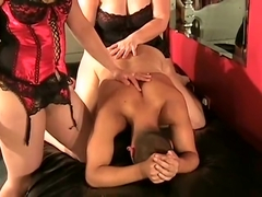 ladies have fun with poor guy