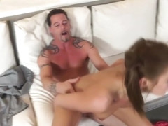 Step daddy got his big cock ridden on top by Molly Manson