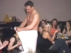 slutty blonde gets to suck cock backstage