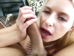 Dazzling blond Anikka Albrite is sucking cock
