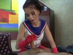 Bossy Cheerleader in Red Gloves gives a Handjob