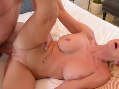 Busty blonde granny with her pussy pierced, Cammille Austin likes to take a huge dick in the ass