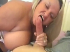 Blonde BBW milf helps his neighbour young boy with a blowjob