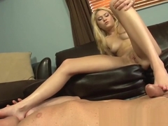 Cute Blonde Teen Chloe Foster Gives First Footjob for Fucked Feet