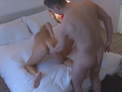 Hunky guy fucking his stepmom and friend