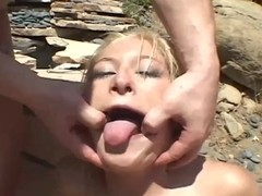 Blonde woman Heather Gables licks balls and gets fucked orally