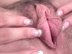 Blonde chick opens up her pussy and plays