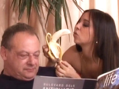 hot babe and old fart share a banana